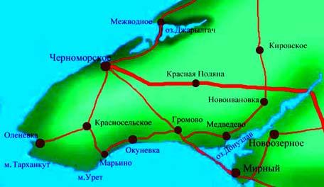 Карта схема пгт Черноморское.